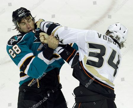 Editorial image of Duck Sharks Hockey, San Jose, USA