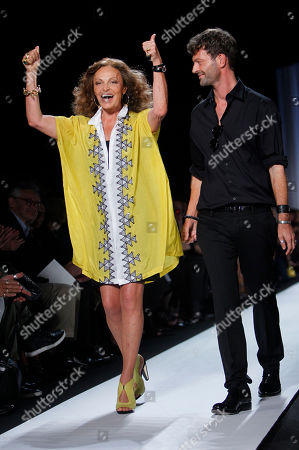 Stock Picture of Diane von Furstenberg, Yvan Mispelaere Diane von Furstenberg and her creative director Yvan Mispelaere greet the crowd after showing her spring 2011 collection during Fashion Week in New York