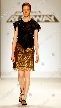 Stock Picture of Fashion from Project Runway contestant Michael Drummond is modeled, during Fashion Week in New York