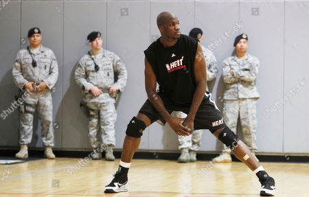 Joel Anthony Miami Heat player Joel Anthony stretches out while shooting free throws during training camp in Hurlburt Field, Fla