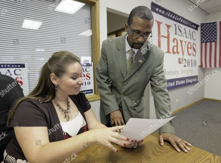 "Stock Image of Isaac Hayes, Rebekah L. Moore Isaac Hayes, Republican candidate for the U.S. House of Representatives in the second congressional district in Illinois goes over copy for his web page with Rebekah L. Moore, at his campaign headquarters in South Holland, Ill. on . Hayes, a conservative Republican challenging U.S. Rep. Jesse Jackson Jr., is getting more attention lately _ and not just because he shares a name with the soul legend known for the ""Shaft"" theme"