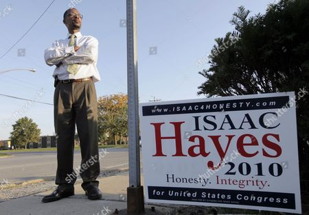 Isaac Hayes Isaac Hayes, Republican candidate for the U.S. House of Representatives in the second congressional district in Illinois, poses outside his campaign headquarters, in South Holland, Ill. Hayes, a conservative Republican challenging U.S. Rep. Jesse Jackson Jr., is getting more attention lately, from national Republicans and is being mentioned often on black radio stations. While political experts see him as unlikely to score an upset in November, he could benefit from voter sentiment about Jackson's troubles