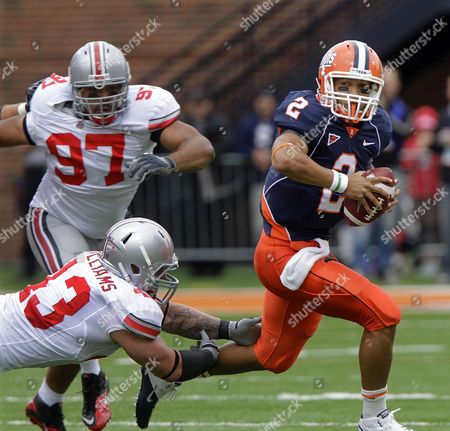 Nathan Scheelhaase Cameron Heyward Nathan Williams Illinois quarterback Nathan Scheelhaase (2) runs away from Ohio State defensive linemen Nathan Williams (43) and Cameron Heyward (97) during the first half of the NCAA college football game in Champaign, Ill