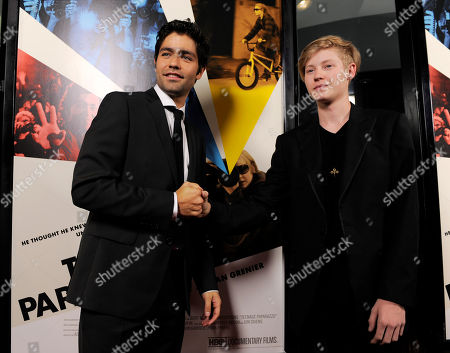 "Stock Picture of Austin Visschedyk, Adrian Grenier Austin Visschedyk, right, subject of the documentary film ""Teenage Paparazzo,"" poses with the film's director Adrian Grenier at the premiere of the film in Los Angeles"