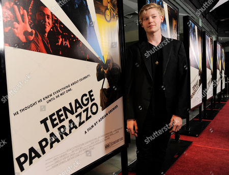 """Austin Visschedyk Austin Visschedyk, the subject of the documentary film """"Teenage Paparazzo,"""" poses at the premiere of the film in Los Angeles"""