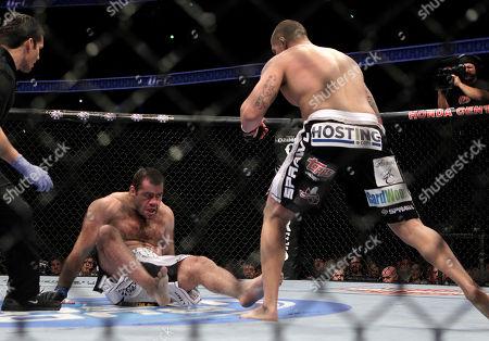 Gabriel Gonzaga, Brendan Schaub Brendan Schaub, right, knocks down Gabriel Gonzaga, of Brazil, during a UFC mixed martial arts match in Anaheim, Calif