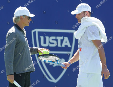 Stock Photo of Andy Roddick, Larry Stefanki Andy Roddick, right, talks with his coach, Larry Stefanki, during practice for the U.S. Open tennis tournament in New York . Roddick is scheduled to face Stephane Robert, of France, in the first round of men's singles Monday