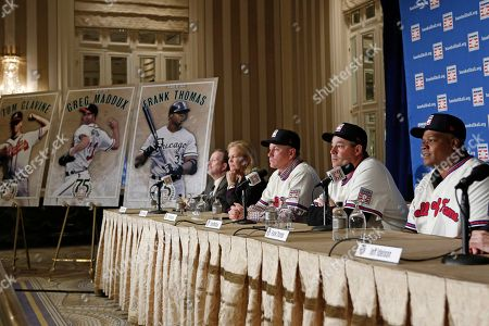 Stock Photo of Jack O'Connell, Jane Forbes Clark, Tom Glavine, Greg Maddux, Frank Thomas Former Atlanta Braves pitchers Tom Glavine, third from left, and Greg Maddux, second from right, sit beside former Chicago White Sox slugger Frank Thomas, right, during a press conference announcing their election to the 2014 Baseball Hall of Fame class, in New York. From left are Baseball Writers Association of America Secretary/Treasurer Jack O' Connell, and Baseball Hall of Fame chairman Jane Forbes Clark