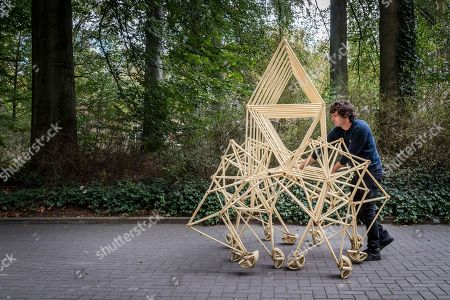 """A man walks a """"Strandbeest"""", a kinetic sculpture that appears to walk, during the opening of ExVitro expo at the University of Leuven, Belgium, . Dutch artist Theo Jansen builds large mechanisms out of PVC that are able to move on their own, known only as Strandbeest"""