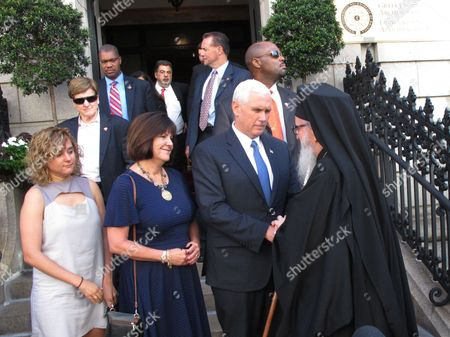Republican vice presidential candidate, Indiana Gov. Mike Pence, his wife Karen and daughter Charlotte leave the Greek Orthodox Archdiocese of America office after meeting with Archbishop Demetrios of America in New York City