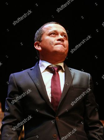 Stock Picture of Yuri Buenaventura On, Colombian singer Yuri Buenaventura performs in Biarritz, southwestern France, during a concert at the 25th Festival Biarritz Amerique Latine