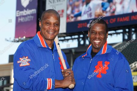 """Dwight Gooden, Darryl Strawberry Former New York Mets' players Dwight Gooden, right, and Darryl Strawberry posing at Citi Field in New York. Gooden has denied, Darryl Strawberry's accusation that he is """"a complete junkie-addict,"""" saying his former teammate is just taking it personally that Gooden could not make a scheduled public appearance with Strawberry last week"""