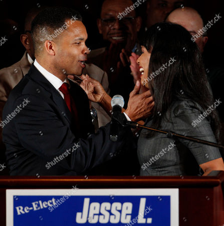 Jesse Jackson Jr., Sandi Jackson U.S. Rep. Jesse Jackson Jr., D-Ill., and his wife Chicago Alderman Sandi Jackson, embrace at his election night party, in Chicago after his Democratic primary win over challenger, former Rep. Debbie Halvorson, in the Illinois' 2nd District