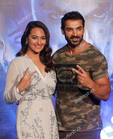 John Abraham, Sonakshi Sinha Bollywood actors John Abraham, right and Sonakshi Sinha pose for a picture during the trailer launch of their upcoming film Force 2 in Mumbai, India, Thursday, Sept. 29, 2016 . The film is scheduled for release on