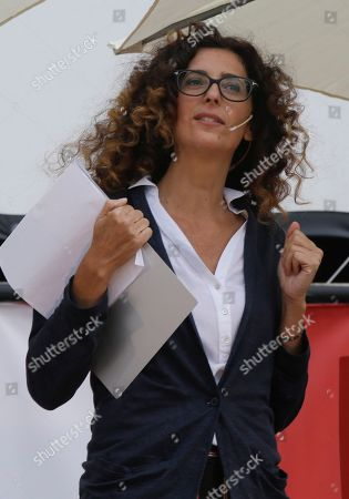 Stock Image of Italian actress Teresa Mannino attends 'Fuoricinema', a Movie happening event, in Milan, Italy