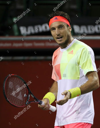 Juan Monaco Juan Monaco, of Argentina reacts after losing a point against James Duckworth, of Australia, during their singles match at the Japan Open men's tennis tournament in Tokyo