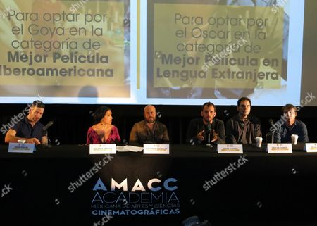 "Stock Image of A panel announces films that will represent Mexico at the Oscars and Spain's Goya Awards in Mexico City, . ""Desierto"" will bid for a nomination at the Oscars while ""Las elegidas"" will try to obtain a nod at the Goyas, both awarded in February of 2017. From left are Director David Pablos of ""Las elegidas,"" Mexican Film Academy President Dolores Heredia, Mexican Film Academy Secretary Everardo Gonzalez, Director Jonas Cuaron of ""Desierto"" and producers of ""Desierto"" Carlos Cuaron and Nicolas Celis"