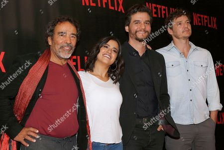 """Stock Picture of Damian Alcazar, Paulina Gaitan,  Wagner Moura, Pedro Pascal Damian Alcazar, from left to right, who plays the role of a Cali druglord named Gilberto Orejuela in the Netflix series """"Narcos"""", Paulina Gaitan, who plays the character of Pablo Escobar's wife Tata, Wagner Moura, who plays the role of Pablo Escobar, and, Pedro Pascal, who plays the role of a DEA agent named Javier PeÜ pose for photos during a media call to promote their second season, in Mexico City, . """"Narcos"""" the Netflix series about the history of the cocaine route presents the downfall of Pablo Escobar in its second season premiering worldwide on Sept.2"""