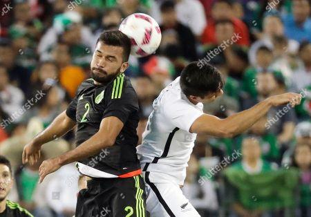 Hedgardo Marin, Rory Fallon Mexico's Hedgardo Marin (2) heads the ball away from New Zealand's Rory Fallon, right, in the second half of an international friendly soccer match, in Nashville, Tenn. Mexico won 2-1