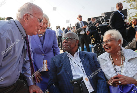 Patrick Leahy, Marcelle Pomerleau, Hank Aaron, Billye Aaron Sen. Patrick Leahy, D-Vt., and his wife Marcelle Pomerleau, talk with Baseball Hall-of-Famer and legend, Hank Aaron and Aaron's wife Billye Aaron, far right, at the dedication ceremony for the Smithsonian Museum of African American History and Culture on the National Mall in Washington