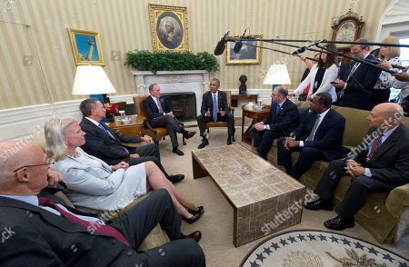 Barack Obama, James Stavridis, Kasim Reed, John Bel Edwards, Michael Bloomberg, John Kasich, Ginni Rometty, Henry Paulson From Left, former Treasury Secretary Henry Paulson; IBM Chairman, President and CEO Ginni Rometty; Ohio Gov. John Kasich; former New York City Mayor Michael Bloomberg, President Barack Obama, Louisiana Gov. John Bel Edwards, Atlanta Mayor Kasim Reed, and former NATO Supreme Allied Commander James Stavridis meet in the Oval Office of the White House in Washington, to discuss how the Trans-Pacific Partnership can benefit American workers and businesses and further national security