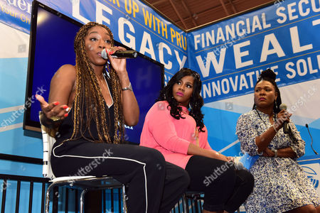Stock Picture of IMAGE DISTRIBUTED FOR PRUDENTIAL FINANCIAL - R&B singers Estelle and Kelly Price with LeToyia Dennis, founder of A Chance to Learn, provide a candid conversation about the importance of giving back and how it helps women to feel more personally fulfilled on Saturday, July 2, 2016, in New Orleans. The event was coordinated by Prudential Financial at the 2016 Essence Festival.