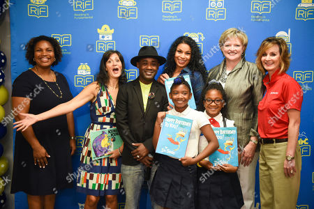 Stock Image of Tara Lazar, TaMikka Sykes, Tray Chaney, Jordin Sparks, Alicia Levi, Christy Moberly From left, Principal TaMikka Sykes, children's author Tara Lazar, actor/musician Tray Chaney, singer/actress Jordin Sparks, RIF President and CEO Alicia Levi, State Farm Senior Vice President and RIF Board Member Christy Moberly along with two students from Amidon-Bowen Elementary School celebrate Reading Is Fundamental's 50th Anniversary, in Washington, D.C