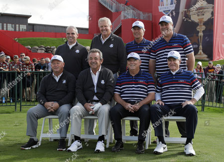 Ben Crenshaw Dave Stockton Hal Sutton Lanny Wadkins Tony Jacklin Paul McGinley Colin Montgomerie Ian Woosnam Former Ryder Cup captains pose for a picture before the Ryder Cup Captains Match, at Hazeltine National Golf Club in Chaska, Minn