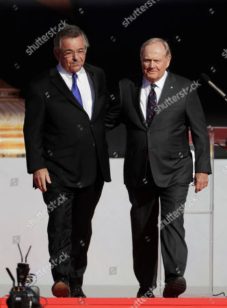 Jack Nicklaus and Tony Jacklin are introduced during the opening ceremony for the Ryder Cup golf tournament, at Hazeltine National Golf Club in Chaska, Minn