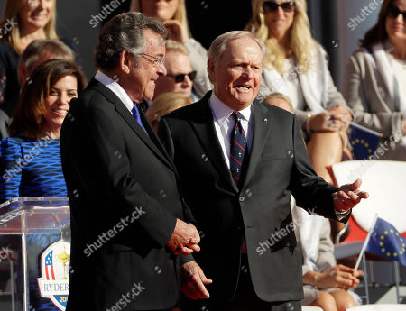 Jack Nicklaus and Tony Jacklin talk during the opening ceremony for the Ryder Cup golf tournament, at Hazeltine National Golf Club in Chaska, Minn