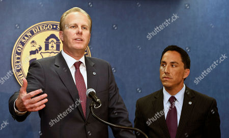 Stock Photo of Kevin Faulconer, Todd Gloria San Diego mayor-elect Kevin Faulconer, left, and interim mayor Todd Gloria hold a news conference, in San Diego. Faulconer won the city's special election Tuesday to replace former mayor Bob Filner who resigned. Kevin Faulconer, 47, said Wednesday that his emphasis on working across party lines and his embrace of fiscal measures such as cutting pensions for city workers and putting more city services up for private bidding led to his surprisingly large margin of victory