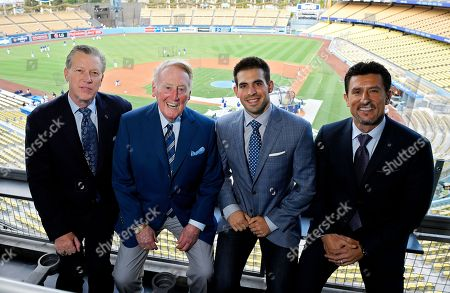 Vin Scully, Joe Davis, Orel Hershiser, Nomar Garciaparra Dodgers broadcasters, from left, Orel Hershiser, Vin Scully, Joe Davis and Nomar Garciaparra pose prior to a baseball game between the Los Angeles Dodgers and the San Francisco Giants in Los Angeles. As Scully closes out his Hall of Fame career calling Los Angeles Dodgers games, his successor is waiting in the wings. Joe Davis has been working road games for the team this season, warming up for next year when the 28-year-old will move into Scully's old booth full-time