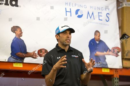 IMAGE DISTRIBUTED FOR SMITHFIELD - Aric Almirola, Richard Petty Motorsports No.43 driver, speaks about the team's partnership with Smithfield's Helping Hungry Homes program and how Smithfield's 25,000-pound protein donation to Freestore Foodbank will provide more than 100,000 servings to families in need in Greater Cincinnati, at the Freestore Foodbank on Thursday, July 7, 2016 in Cincinnati.