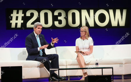 Stock Picture of John Kerry, Katty Kay Katty Kay, Lead Anchor of BBC World News, discusses the topic of 'American Leadership' with U.S. Secretary of State John Kerry at The Social Good Summit at the 92nd Street Y in New York