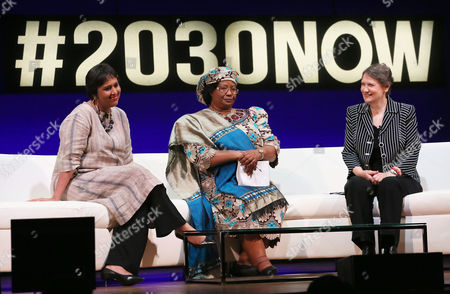 Barkha Dutt, Dr. Joyce Banda, Helen Clark From left, Barkha Dutt, television journalist for NDTV, Dr. Joyce Banda, former President of Malawi, and Helen Clark, Administrator, UN Development Programme and former Prime Minister of New Zealand, discuss the topic of 'Power Players: Women in Global Leadership', at The Social Good Summit at the 92nd Street Y, in New York