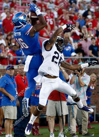 Courtland Sutton, Tony James SMU wide receiver Courtland Sutton (16) is unable to come down with the ball inbounds as he is defended by TCU cornerback Tony James (28) in the first half of an NCAA college football game, in Dallas, Texas
