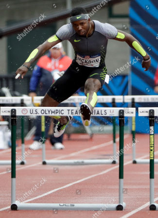 Bershawn Jackson runs during the semifinals for men's 400-meter hurdles at the U.S. Olympic Track and Field Trials, Friday, July 8, 2016, in Eugene Ore.
