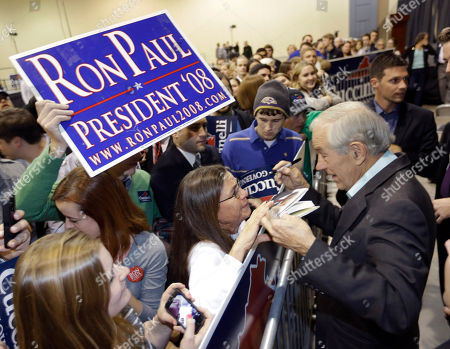 Ron Paul Former U.S. Rep. Ron Paul, right, greets supporters during a rally for Republican gubernatorial candidate Ken Cuccinelli in Richmond, Va., . Cuccinelli faces Democrat Terry McAuliffe in Tuesday's election