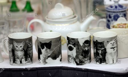 "A selection of kitty cat mugs are among items belonging to James ""Whitey"" Bulger and Catherine Greig, which will be auctioned off this weekend at the Boston Convention Center, Friday, June 24, 2016, in Boston. The proceeds will be divided among the families of Bulger's victims."