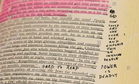 "A hand written notation ""Power is Deadly"" is seen in the margin of a Holocaust history book, that is among items belonging to James ""Whitey"" Bulger and Catherine Greig, which will be auctioned off this weekend at the Boston Convention Center, Friday, June 24, 2016, in Boston. The proceeds will be divided among the families of Bulger's victims."