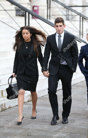 Ched Evans and his fiancee Natasha Massey leaving Cardiff Crown Court at the end of his retrial for rape during which he was found not guilty