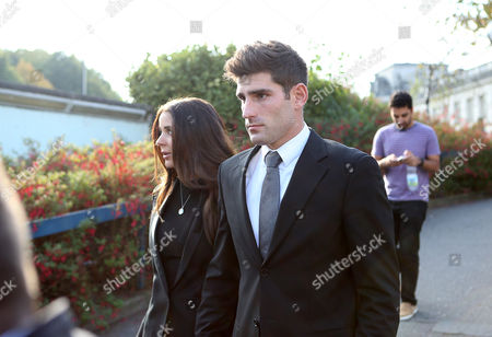 Stock Picture of Ched Evans and his fiancee Natasha Massey leaving Cardiff Crown Court at the end of his retrial for rape during which he was found not guilty