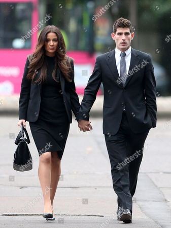 Ched Evans and his fiancee Natasha Massey arriving