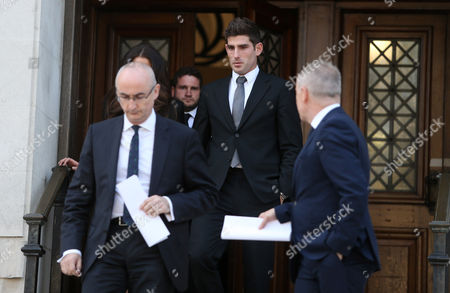 Stock Photo of Ched Evans and his fiancee Natasha Massey leaving Cardiff Crown Court at the end of his retrial for rape during which he was found not guilty
