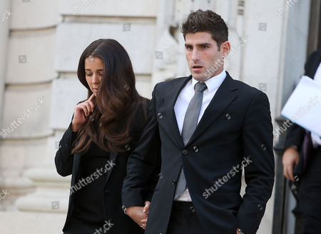 Stock Image of Ched Evans and his fiancee Natasha Massey leaving Cardiff Crown Court at the end of his retrial for rape during which he was found not guilty