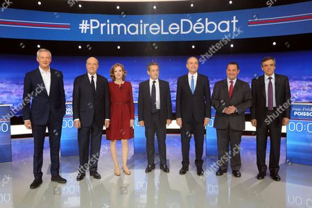 7 candidates for the primary right - Bruno Lemaire, Alain Juppe, Nathalie Kosciusko-Morizet, Nicolas Sarkozy, Jean-Francois Cope, Jean-Frederic Poisson and Francois Fillon, during the televised debate on TF1 debate about social issues for the French presidential election