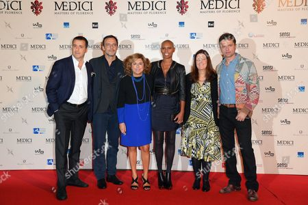 The producer Luca Bernabei, Alessandro Preziosi, the producer Matilde Bernabei, Skin, Eleonora Andreatta director of Rai Fiction, Guido Caprino