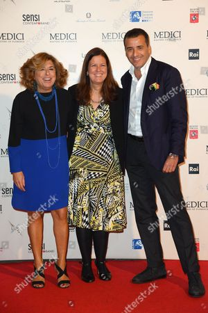 The producer Matilde Bernabei, Eleonora Andreatta director of Rai Fiction, the producer Luca Bernabei
