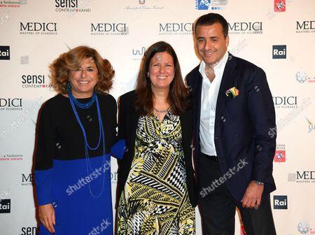 The producer Matilde Bernabei, Eleonora Andreatta director Rai Fiction, producer Luca Bernabei
