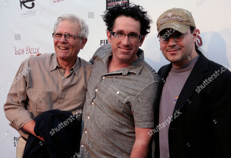 "Tom Holland, Darren Bousman, Adam Rifkin Directors Tom Holland, Darren Bousman and Adam Rifkin pose at the screening of ""2001 Maniacs: Field of Screams"" in Los Angeles"